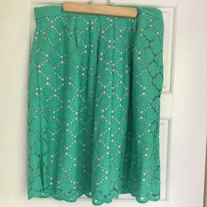 Boden Broderie Skirt with Pockets, Green, 10 R